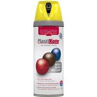 Plastikote Premium Gloss Aerosol Spray Paint New Yellow 400ml
