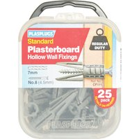 Plasplugs Plasterboard Hollow Wall Fixings Pack of 25