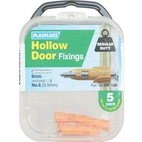 Plasplugs Hollow Door Fixings Pack of 5