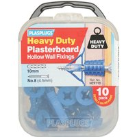 Plasplugs Heavy Duty Plasterboard Hollow Wall Fixings Pack of 10