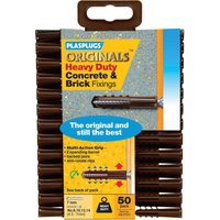 Plasplugs Heavy Duty Multifix Concrete & Brick Fixings Pack of 50
