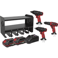 Sealey 20v Cordless 3 Piece Power Tool Kit and Storage Rack 2 x 2ah Li ion Charger No Case