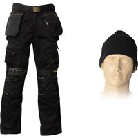 "Roughneck Mens Work Trousers , Belt, Beanie & Kneepad Black 34"" 32"""