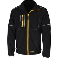 Roughneck Mens Wind Blocker Fleece Jacket with Reflective Piping Black L