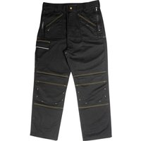 "Roughneck Mens Multi Zip Trousers Black 32"" 31"""