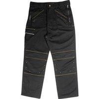 Roughneck Mens Multi Zip Trousers Black 34 33
