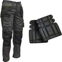 "Roughneck Clothing Holster Work Trouser & Knee Pads Black / Grey 36"" 31"""