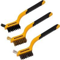 Roughneck 3 Piece Soft Grip Mini Wire Hand Brush Set