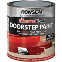 Ronseal Diamond Hard Door Step Paint Tile Red 250ml