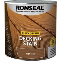 Ronseal Quick Drying Decking Stain 2.5l Rich Teak