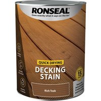 Ronseal Quick Drying Decking Stain 5l Rich Teak