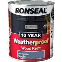 Ronseal Weatherproof 10 Year Exterior Satin Wood Paint Midnight Blue 750ml