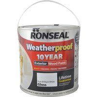 Ronseal Weatherproof 10 Year Exterior Gloss Wood Paint White 2.5l