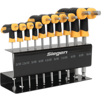Siegen 10 Piece T-Handle Ball End Hex Key Set