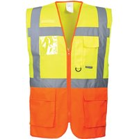 Portwest Prague Executive Class 2 Hi Vis Waistcoat Yellow / Orange XL
