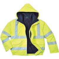 Biz Flame Hi Vis Flame Resistant Rain Bomber Jacket Yellow M