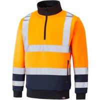 Dickies High Vis Quarter Zip Sweatshirt Orange / Navy 3XL