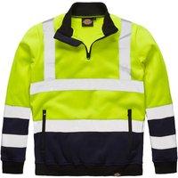 Dickies High Vis Quarter Zip Sweatshirt Yellow / Navy 2XL