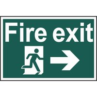 Scan Fire Exit Running Man Arrow Right Sign 300mm 200mm Standard