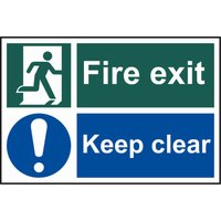 Scan Fire Exit Keep Clear Sign 300mm 200mm Standard