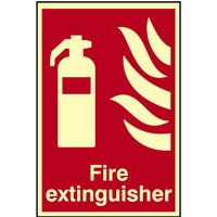 Scan Fire Extinguisher Sign 200mm 300mm Photoluminescent