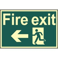 Scan Fire Exit Running Man Sign Arrow Left 300mm 200mm Photoluminescent