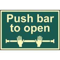 Scan Push Bar To Open Sign 300mm 200mm Photoluminescent