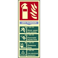 Scan Dry Powder Fire Extinguisher Sign 75mm 200mm Photoluminescent