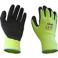 Scan Mens Foam Latex Coated Gloves Yellow L