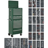 Sealey 14 Drawer Roller Cabinet, Middle & Top Chest & 1179 Piece Tool Kit Green