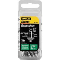 Stanley Aluminium Pop Rivets 4mm Short Pack of 20