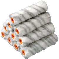 Stanley Medium Pile Silver Stripe Radiator Paint Roller Sleeve 100mm Pack of 10