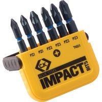 CK Blue Steel 6 Piece Impact Pozi Screwdriver Bit Set