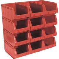 Sealey Plastic Storage Bin 209 x 356 x 164mm RED Pack of 12