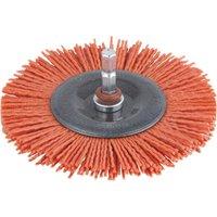 Wolfcraft Abrasive Nylon Bristle Wheel Brush 100mm 6mm Shank