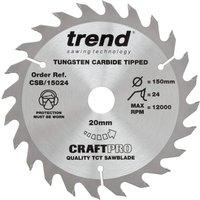 Trend CRAFTPRO Wood Cutting Saw Blade 150mm 24T 20mm