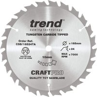 Trend CRAFTPRO Wood Cutting Cordless Saw Blade 165mm 24T 10mm