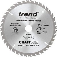 Trend CRAFTPRO Wood Cutting Cordless Saw Blade 165mm 40T 20mm
