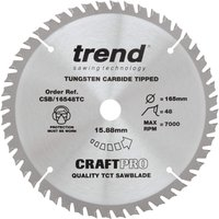 Trend CRAFTPRO Wood Cutting Cordless Saw Blade 165mm 48T 15 88mm