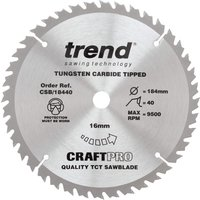 Trend CRAFTPRO Wood Cutting Saw Blade 184mm 40T 16mm