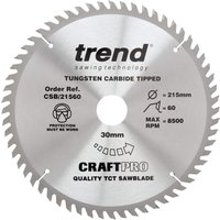 Trend CRAFTPRO Wood Cutting Saw Blade 215mm 60T 30mm