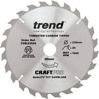 Trend CRAFTPRO Non Stick Wood Cutting Saw Blade 235mm 24T 30mm