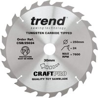 Trend CRAFTPRO Wood Cutting Saw Blade 250mm 24T 30mm
