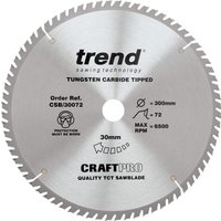 Trend CRAFTPRO Wood Cutting Saw Blade 300mm 72T 30mm