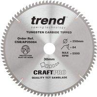 Trend CRAFTPRO Aluminium and Plastic Cutting Saw Blade 250mm 84T 30mm