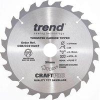Trend Craft Anti Kickback Thin Kerf Circular Saw Blade 216mm 24T 30mm