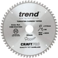Trend CRAFTPRO Wood Cutting Mitre Saw Blade 216mm 60T 30mm
