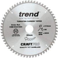 Trend CRAFTPRO Wood Cutting Mitre Saw Blade 216mm 60T 30mm
