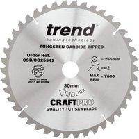 Trend CRAFTPRO Wood Cutting Mitre Saw Blade 255mm 42T 30mm