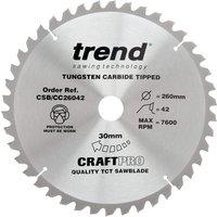 Trend CRAFTPRO Wood Cutting Mitre Saw Blade 260mm 42T 30mm
